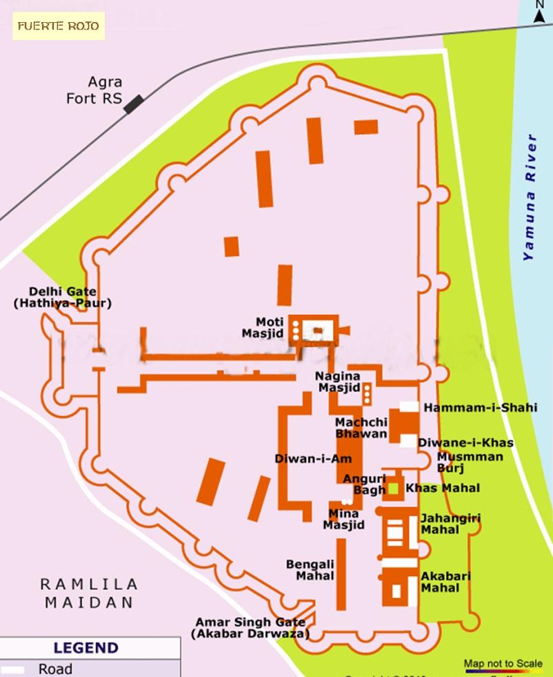 mapa fuerte rojo de agra