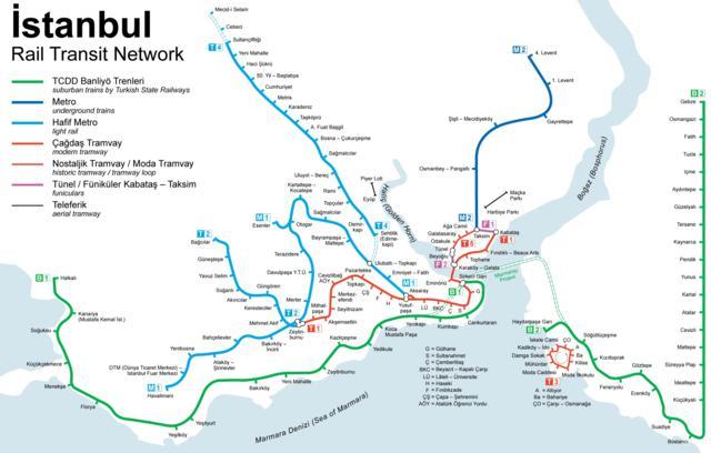 Mapa de tranvía de Estambul