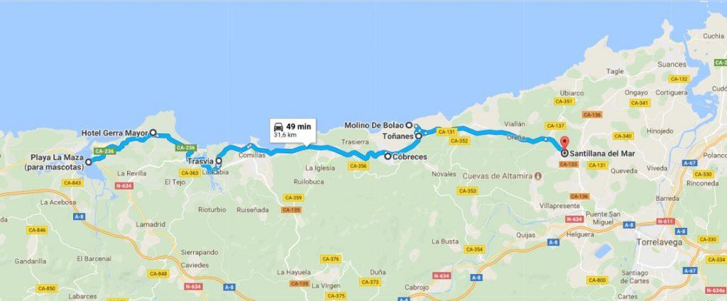recorrido en coche por la costa de Cantabria