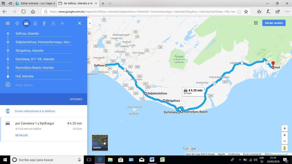 mapa del recorrido por el sur de Islandia