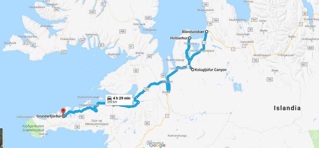 recorrido hacia la península de Snaefellness